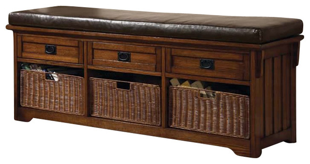 Coaster Oak Large Storage Bench With Baskets Transitional Indoor Benches