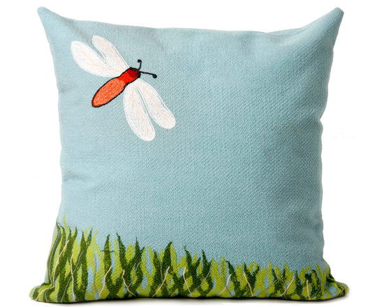 """Trans-Ocean Outdoor Pillows - Trans-Ocean Liora Manne Dragonfly Aqua - 20"""" x 20"""" - Designer Liora Manne's newest line of toss pillows are made using a unique, patented Lamontage process combining handmade artistry with high tech processing. The 100% polyester microfibers are intricately structured by hand and then mechanically interlocked by needle-punching to create non-woven textiles that resemble felt. The 100% polyester microfiber results in an extra-soft hand with unsurpassed durability."""