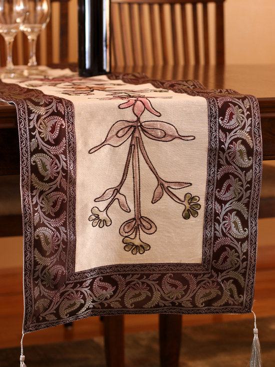 """Elegant Table Runners - One-of-a-kind """"Hand Painted"""" table runner. Floral Wine color. Decorative Indian design."""