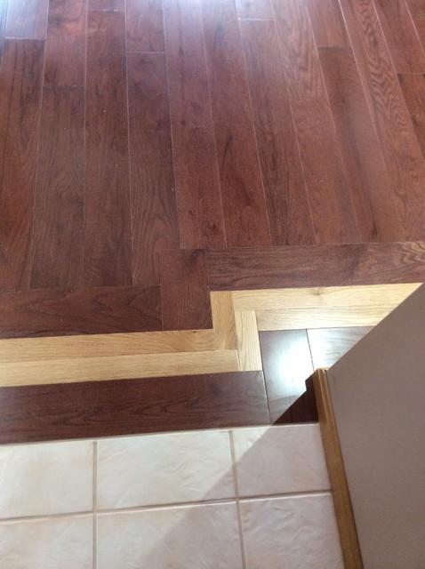 Two Tone Hardwood Floor With Mosaic Inlay