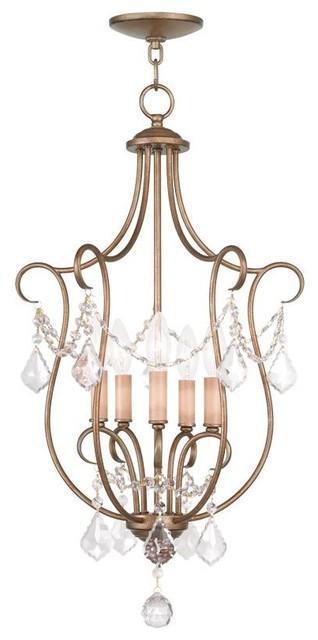 Open Frame Foyer Light : Five light antique gold leaf open frame foyer hall fixture