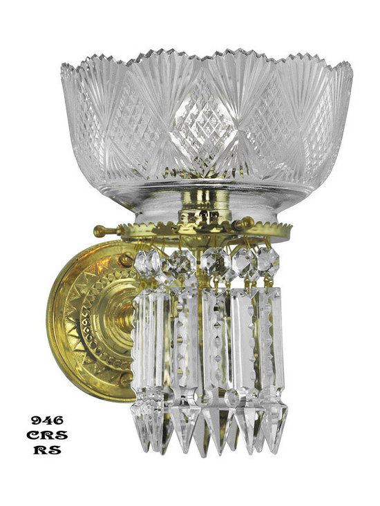 Victorian Chandeliers - This single-light crystal wall sconce was designed by Oxley Giddings, fine craftsmen of the 1870's. Sought after by wealthy clients for their top quality lead crystal and materials, it was difficult to find originals for our provenance. We are proud to offer historically accurate reproductions for your home.