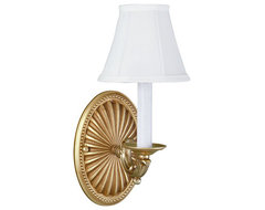 French Gold One Light Wall Sconce With Shade traditional-wall-sconces