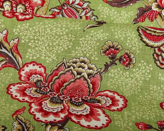 Padma Floral Linen Fabric in Peridot Cherry - Padma Floral Linen Fabric in Peridot Cherry has a bright, large-scale floral pattern with glittering gold accents. This 100% linen fabric is made in Italy and works for a variety of applications including upholstery, pillows, or drapery. Width: 54″; Repeat: L:28″ W:26.75″
