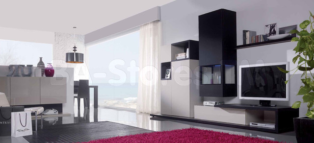 Grey Silk/Graphite Oak Wall Unit Composition 16 modern-media-storage