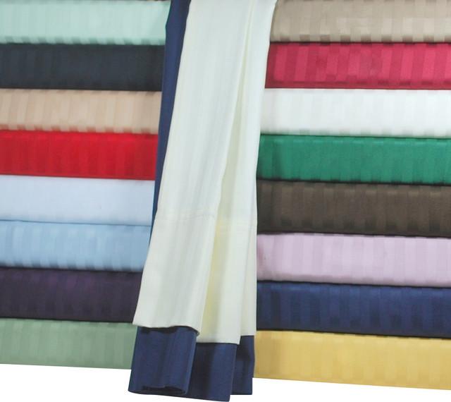 HC 300 Thread Count Egyptian Cotton Stripe Duvet Cover Set - 1394-twin-lightblue traditional-duvet-covers