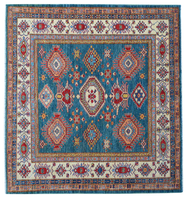 100 Wool Persian Area Rug: Hand Knotted Oriental Rug 6x6 Square 100% Wool Super Kazak