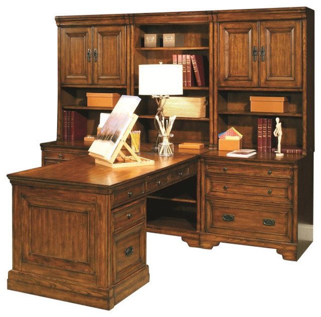 centennial modular desk wall in chestnut brown traditional desks