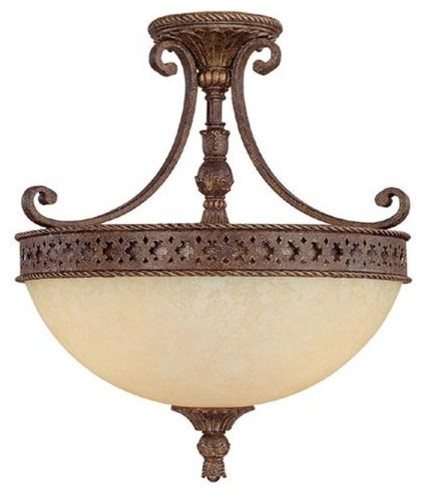 Capital Lighting 3658CU 3 Light Semi-Flush Fixture Squire Collection flush-mount-ceiling-lighting