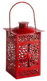 Red Metal Lantern asian-candles-and-candle-holders