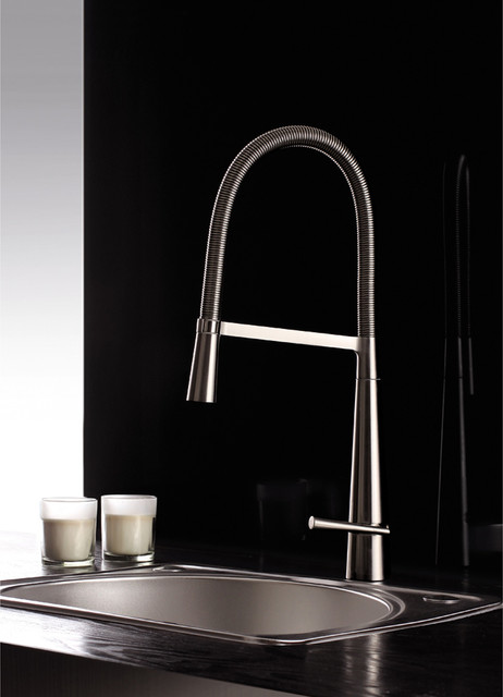 Ruvati Brushed Nickel Pullout Spray Kitchen Faucet - contemporary