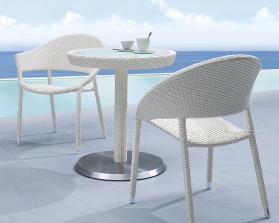 Wicker Outdoor Bistro Table and Chair Set - Wicker outdoor bistro table and chair set.