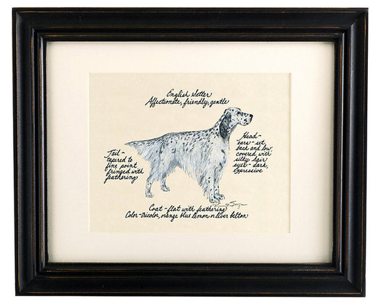 Ballard Designs - English Setter Blue Belton Dog Print - Hand colored & signed. Printed on parchment. Eggshell mat. Antique black frame. Our English Setter Blue Belton Dog Print was created by the dog-loving, husband and wife team of Vivienne and Sponge. The English Setter is known for being affectionate, friendly and gentle. Each English Setter portrait is hand colored and embellished with notes on the breed's special characteristics. Printed on antiqued parchment, signed by the artists and framed in antique black wood with eggshell mat and glass front. English Setter Blue Belton Dog Print features: . . . . *Please note that personalized items are non-returnable.