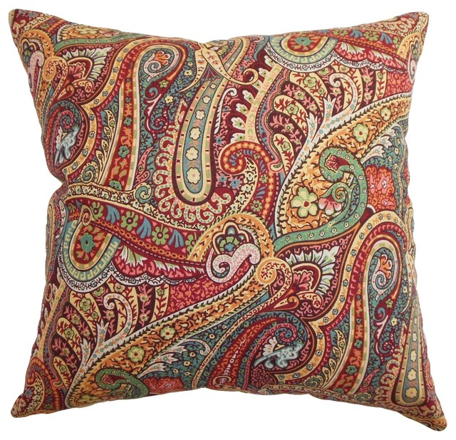 Traditional Throw Pillows : Wanda Paisley Pillow - Traditional - Decorative Pillows - by The Pillow Collection Inc.