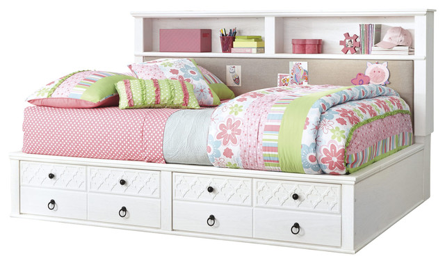 Ashley iseydona twin bookcase bed with storage footboard in white contemporary baby and kids - Kids twin beds with storage drawers ...