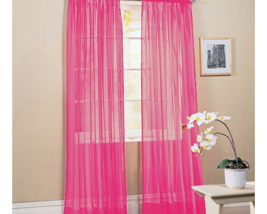 "2 Piece Solid Hot Pink Sheer Window Curtains/drape/panels/treatment 60""w X 84""1 - 2 panels included. Each panel is 60"" x 84"" (120"" x 84"")"