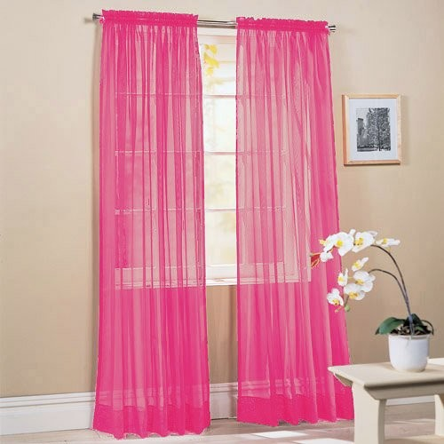 Piece solid hot pink sheer window curtains drape panels treatment 60