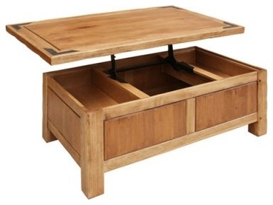 Artisan Lodge Lift Top Rectangle Wood Coffee Table contemporary-side-tables-and-end-tables