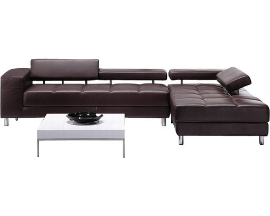 Scene Furniture - Stylish Rilo Sectionals - These very stylish leather sectionals are carefully designed with a clean, low-profile look. The headrests are all adjustable.