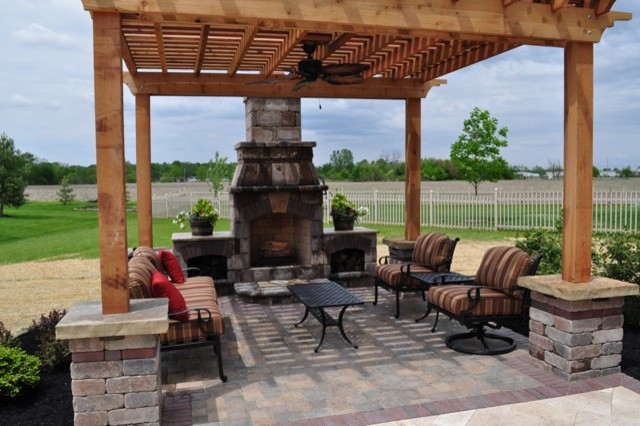 Pergola And Outdoor Fireplace In Mason OH Mediterranean