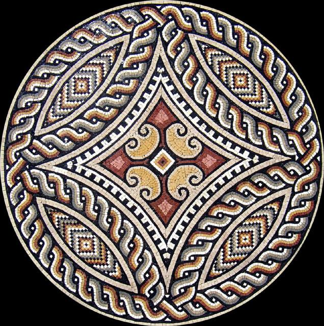 Custom Designed Handcut Roman Marble Mosaic Medallions Mediterranean