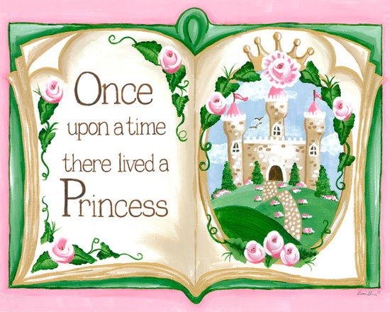 """Oopsy Daisy / Sherri Blum - Storybook Once Upon a Time Princess Nursery Wall Art - Storybook Once Upon a Time princess nursery wall art by Sherri Blum of Jack and Jill Interiors. Measuring 24""""x18"""", this giclee canvas reproduction is made in the USA of the finest materials. Our princess decor is the finishing touch for your pink princess girl's room, princess theme nursery and will be an heirloom to enjoy for generations in any fairytale room."""