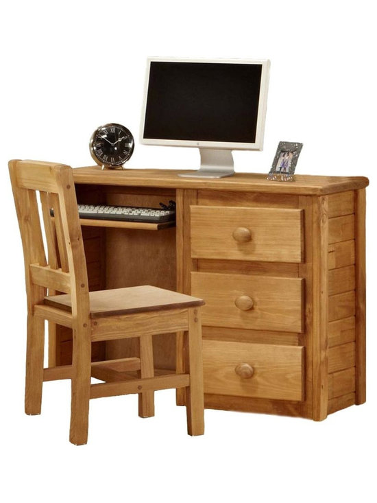 Chelsea Home - Wooden Computer Desk - Chair not included. Rustic style. Constructed for strength and durability. Three drawer storage and keyboard storage area. Drawers mounted on rolling metal glide for easy opening and closing. Warranty: One year. Made from solid pine wood. Ginger stain finish. Made in USA. No assembly required. Drawer: 12 in. W x 12 in. D x 4.5 in. H. Overall: 43 in. W x 16 in. D x 31 in. H (85 lbs.)