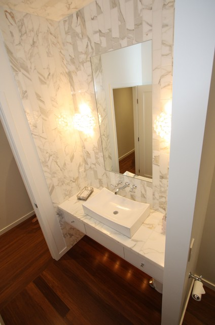 Marble Powder Room Contemporary Powder Room
