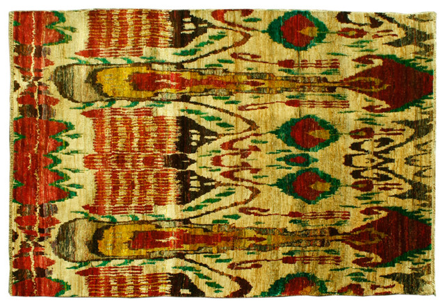 Oriental Rug Beige Hand Knotted Rug Sari Silk Suzani Sh6740 traditional-area-rugs