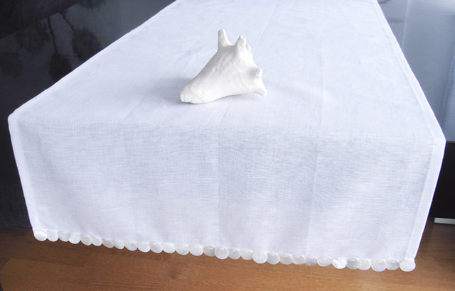 Mother of Pearl White Table Runner - tablecloths - new york - by