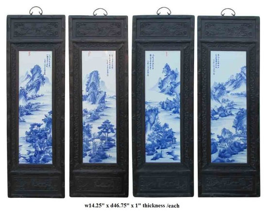 Chinese Wooden Framed Mountain Water View Porcelain Panel / Wall Decor - This is four pieces a set porcelain painting wall decor panels. The blue and white part is made of porcelain and the frame is made of wood. Every single panel has mountain, water and villa graphic on the porcelain tile.