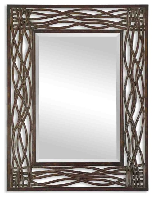 intertwined metal frame wall mirror transitional wall mirrors