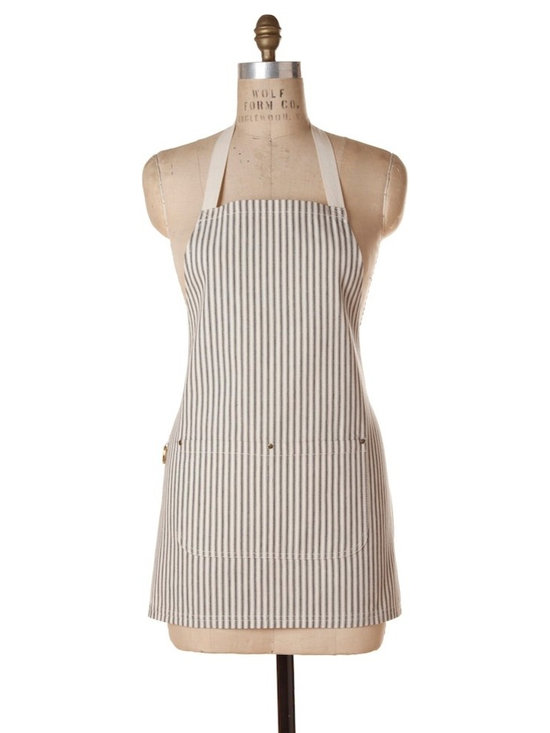 Birdkage - Brittany Mini Bib Apron, Black - Roomy on the sides, and shorter in length than the classic bib style.Details include:-Cream cotton ties-Blue jean rivets at the pockets & contrasting topstitching-Packaged in a re-usable cotton drawstring bagMade in New York, USA