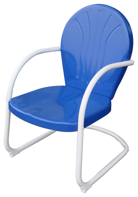 AmeriHome Retro Style Metal Lawn Chair Blue Modern Outdoor Lounge Chair