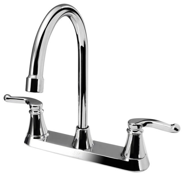 MR Direct 7142 Double Handle Kitchen Faucet, Chrome