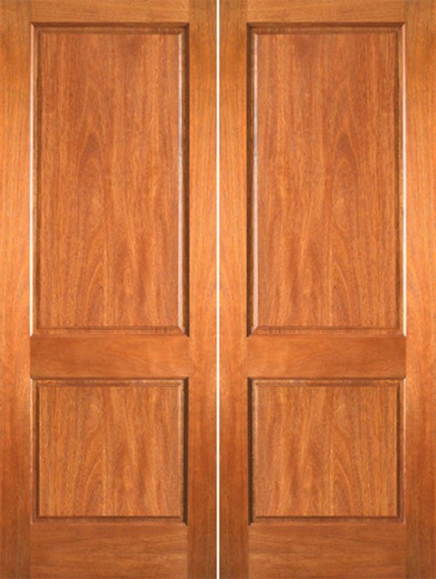 P 620 interior wood mahogany 2 panel double door for All wood interior doors