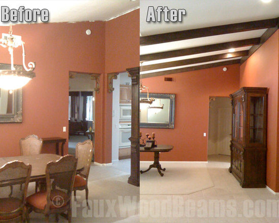 Sandblasted Faux Beams - The addition of faux sandblasted beams in this room helped to hide the uneven roof line and paint job while enhancing the look of this sloped roof.