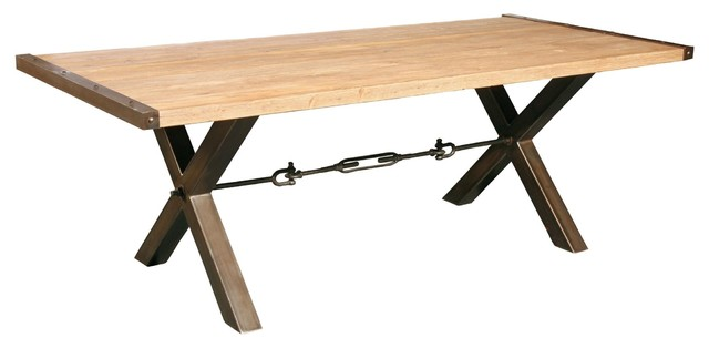 Benchwright Reclaimed Wood Top Metal Base Dining Table eclectic dining tables