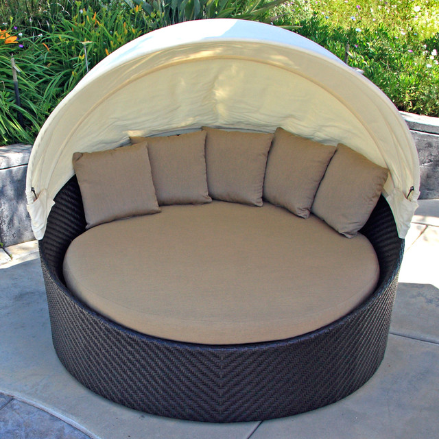 Wink modern outdoor canopy daybed heather beige cushion Outdoor daybed with canopy