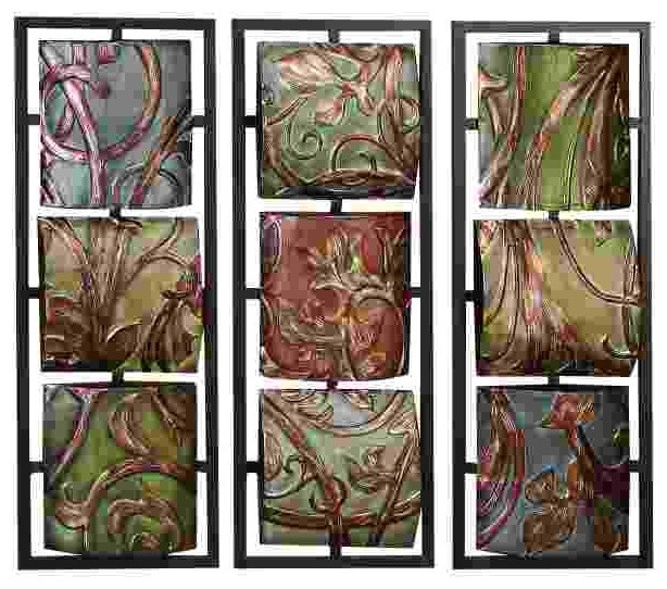 Wall Art Metal Panels : Vineyard scrollwork three panel metal wall art