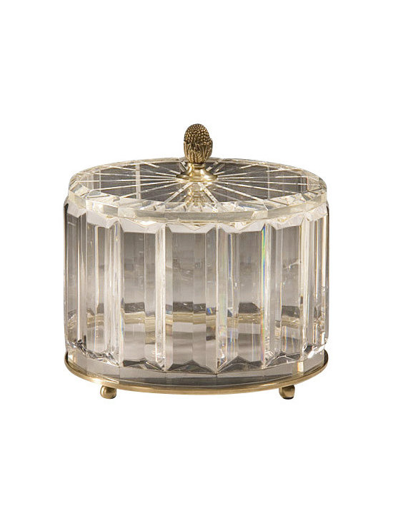 """Inviting Home - Round Solid Crystal Box - round solid crystal box with antique solid brass accents; 8""""W x 8""""D x 7-1/2""""H; Round solid crystal box with solid crystal lid. Crystal box has an antique solid brass base and finial."""