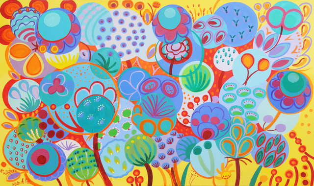 Summer Seeds, 36 x 60 in eclectic-paintings