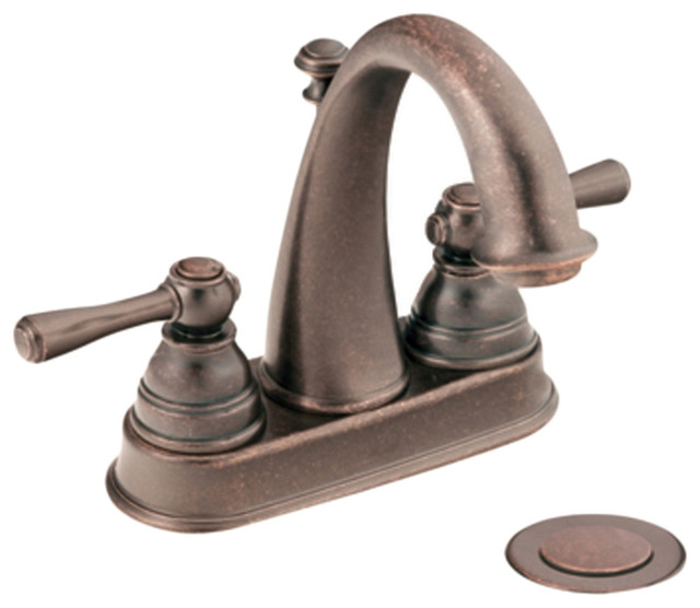 "Moen 6121ORB Oil Rubbed Bronze Bath Sink Faucet Two Lever Handle 4"" Centerset, A transitional-bathroom-faucets"
