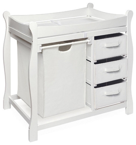 sleigh style baby change table with 3 baskets and hamper