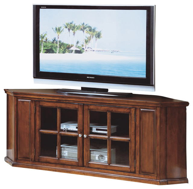 Monarch Specialties 3521 62 Inch Corner TV Stand in Oak traditional-media-storage