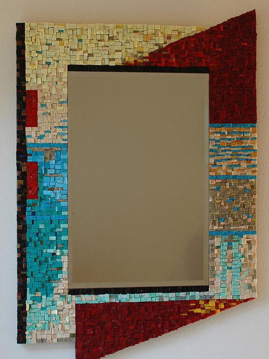 Mosaic Mirror - Mirror designed to coordinate with client's entry rug. Made with vintage Italian smalti the client owned.