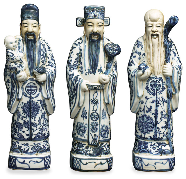 Blue Amp White Porcelain Three Lucky Gods Asian Decorative
