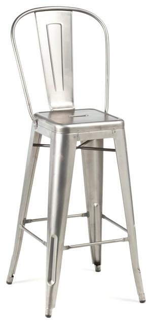 High Back Bar Stool Gunmetal Industrial Bar Stools And Counter Stools