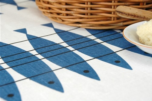 Blue Herring Tablecloth contemporary-tablecloths