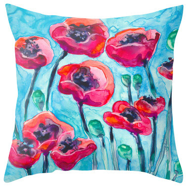 Decorative Pillow Cover - Poppy Sky - Floral Throw Pillow Cushion, 20x20 traditional-decorative-pillows